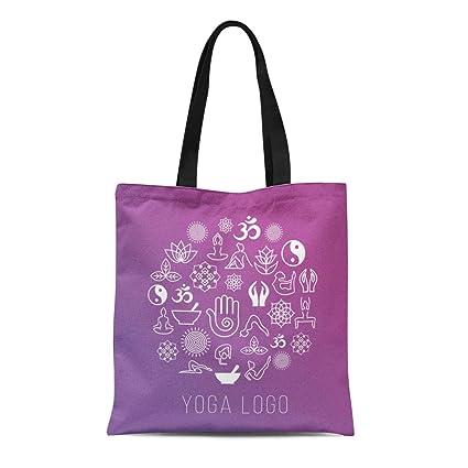 Amazon.com: Semtomn Canvas Tote Bag Yoga Symbols in Round ...