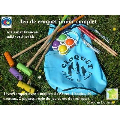 Jeu de croquet en bois junior avec sac de transport , artisanat Français