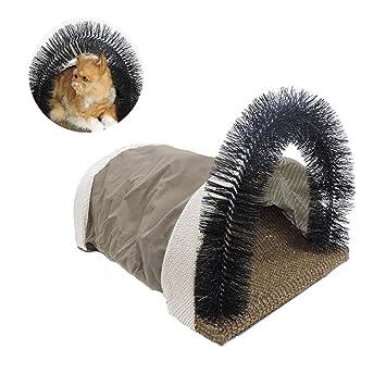 AOLVO Rascador para Gatos con Arco de Aseo, túnel de cartón de sisal para Gatos y Masaje para Evitar Pelotas de Pelo y Pelusas interactivas para Gatos: ...