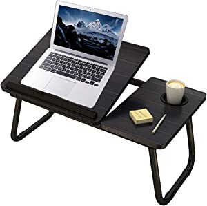 Laptop Bed Tray Table,Asltoy Laptop Desk Notebook,Foldable Lap Desk Stand Adjustable Laptop Table for Bed Notebook Desk Portable Notebook Bed Tray Multifunction Lap Tablet with Cup Holder (Black)