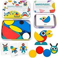 Coogam Houten Patroonblokken - Tangram-vorm Puzzelset Kleurensortering Stapelspel Hout Dierlijke puzzel Peuter Montessori Denkspelletje STEM Cadeau Voor 3 4 5 Jaar Oude Peuter Kind(60 Patroonkaarten)