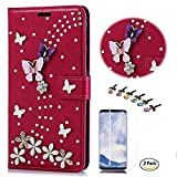 STENES Galaxy S9 Case - Stylish - 3D Handmade Crystal S-Link Butterfly Floral Wallet Credit Card Slots Fold Media Stand Leather Cover for Samsung Galaxy S9 with Screen Protector - Red