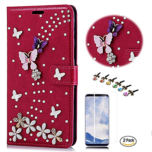 STENES Google Pixel 2 Case - STYLISH - 3D Handmade Crystal S-Link Butterfly Floral Wallet Credit Card Slots Fold Media Stand Leather Cover For Google Pixel 2 With Screen Protector - Red by STENES
