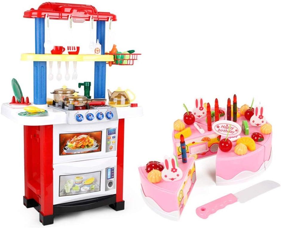 キッチンおもちゃ キッチンおもちゃ男性ガール大水が台所のストーブセットをスプレー料理子どものシミュレーションプレイハウス 調理器具・食器 (色 : Red, Size : 85.5x22x32cm)