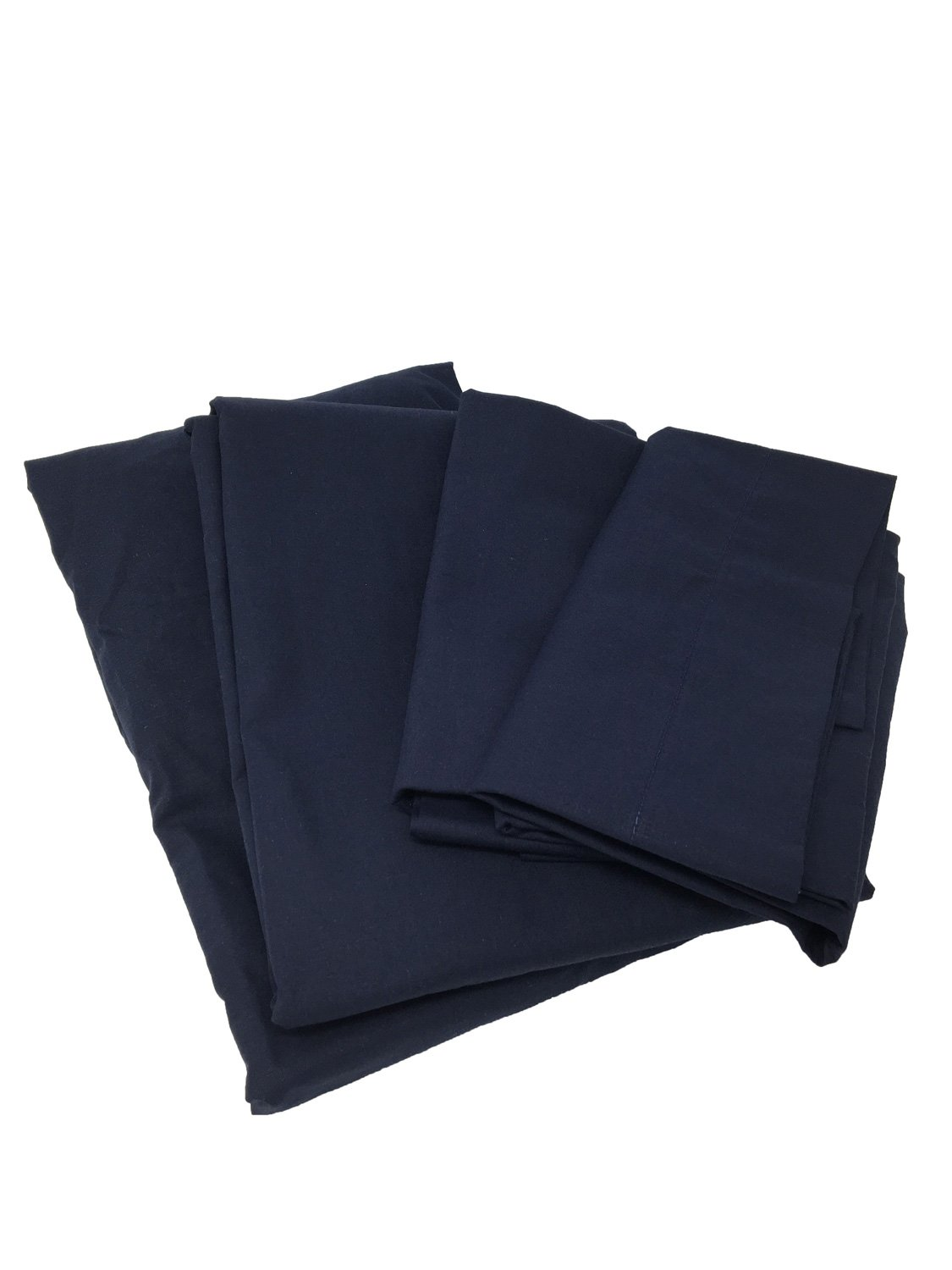 Cot Sheets (Fitted, Flat, Sets), 4 Piece Cot Sheet and Pillow Case Set - Navy- 1 cot fitted sheet 33'' x 75'', 1 cot flat sheet 64''x94'', 2 pillow cases 20''x30''