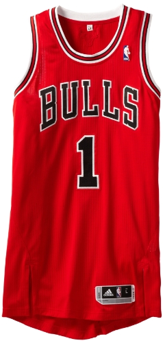 NBA Chicago Bulls Red Authentic Jersey Derrick Rose #1, Large