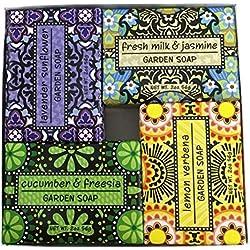 Exfoliating Gardener Shea Butter Soap Sampler - Boxed Set of 4 Assorted Scents Bundle
