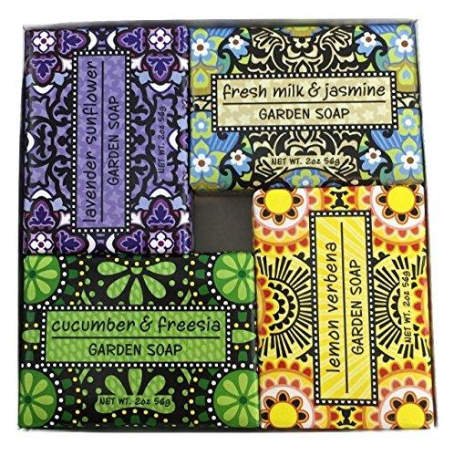 (Exfoliating Gardener Shea Butter Soap Sampler - Boxed Set of 4 Assorted Scents Bundle )