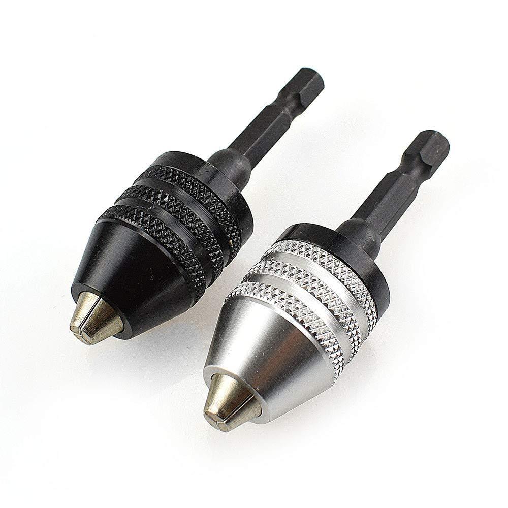 HCFKJ 1//4in Keyless Drill Bit Chuck Hex Shank Adapter Converter Quick Change 0.3-6.5mm Black