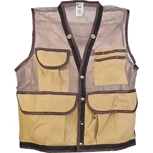 XL Tan JIM-GEM 8-Pocket Nylon Mesh Cruiser Vest, X-Large, 43-46