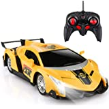 Growsland Remote Control Car, RC Cars Xmas Gifts for kids 1/18 Electric Sport Racing Hobby Toy Car Yellow Model Vehicle for B