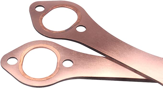 Tickas Exhaust Gasket,Car SBC Exhaust Gaskets Oval Port Copper Header Reusable Replacement for Chevy SB 327 305 350 383