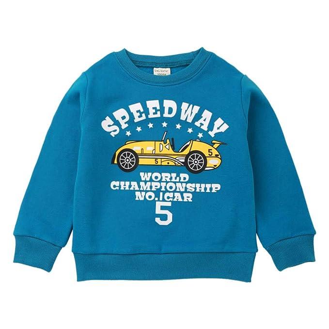2-3 Years, Dark Blue FeiliandaJJ Kids Toddler Children Kids Baby Boys Girls Long Sleeved Cartoon Dinosaur Print Tops T Shirts Tee Blouse for 1-6 Years