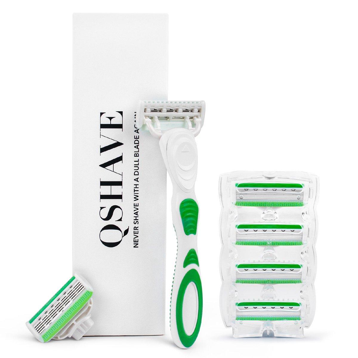 QSHAVE Green Series Women's Shaving Razor with X5 Blade (5-Blade) Replacement Cartridges/Refills (1 Razor + 6 Cartridges)
