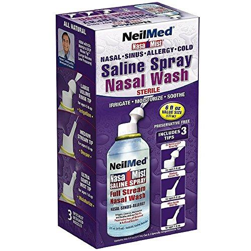 Neil Med Nasa Mist Multi Purpose Saline Spray All in One, 6.0 ounces (Pack of 2)