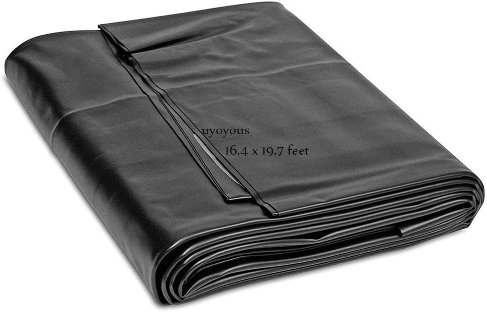 uyoyous 20 Mil HDPE Rubber Pond Liner,16.4ft x 19.7 ft Pond Skins Liner Black Pond Liner for Small Ponds, Fish Ponds, Streams Fountains,Water Garden,Koi Ponds