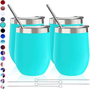 Zonegrace 4 Sets 12 oz Stainless Steel Stemless Wine Glass/Mug, Unbreakable Double Wall Vacuum Insulated thermal Teal Wine Tumbler with Lids for Wine, Coffee, Including 4 Straws (Light Blue)