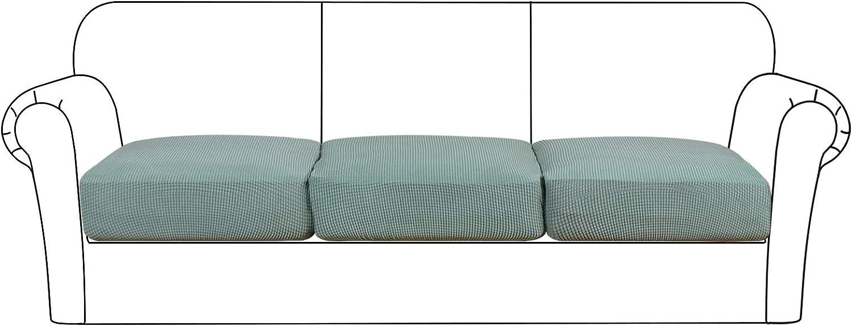 High Stretch Seat Cushion Cover Sofa Cushion Furniture Protector fot Sofa Seat Sofa Slipcover Sofa Cover Soft Flexibility with Elastic Bottom (3 Pieces Cushion Covers, Sage)