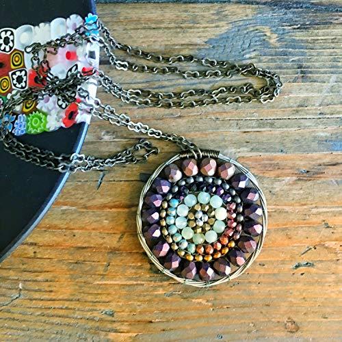 (Gemstone and Guitar String Mandala Pendant Necklace with Jade)