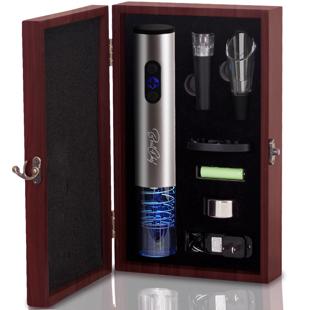 Premium Electric Wine Opener Set in Wooden Case- Wine Bottle Opener Extracts Corks from Wine Bottles in Mere Seconds - Includes Foil Cutter, Wine Pourer and Vacuum Wine Stopper by Best 4 Chef (Best4Chef)