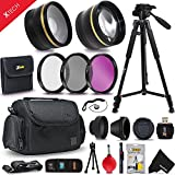 Optimal 21 Piece Accessory Kit for Canon EOS 7D Mark II, 70D 60D 5D 5D Mark II EOS Rebel T6i T6S T5i T5 T4i T3 T3i T2i SL1 EOS M EOS M2 EOS 1200D 1100D 700D 650D 600D 550D XS XSi XT XTi DSLR Cameras Includes 2 x 58mm Lens Attachments + MORE