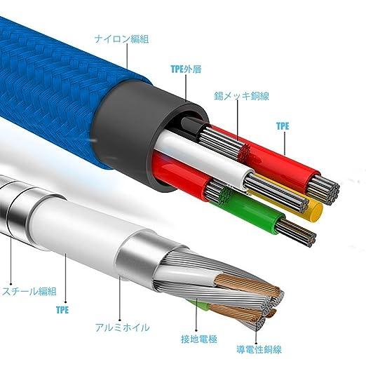fcedb9c3b775 Amazon.co.jp: [2本] W&O Micro USBケーブルステンレススチール編組同期&充電コードナイロン編組Type C /Micro  USB /ライトニング 3 in 1マルチUSB充電ケーブル ...