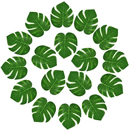 kuuqa 24 pcs artificial tropical leaves hawaiian luau party decor