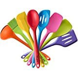 TTLIFE Silicone Spatula Utensil Kitchen 8 Pieces With Turner, Slotted spoon, Ladle, Spoon, Spoon Spatula, Spooula, Spatula, Basting brush (Colorful)