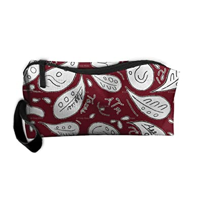 SO27SBAG Portable Durable Waterproof Travel Bag Clean Maroon With White Home Makeup Toiletry Cosmetic Pencil Medicine Bag