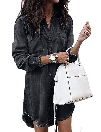 430bcdf6ed9e DUBACH Women Denim Frayed Hem Long Sleeve Shirt Dress at Amazon ...