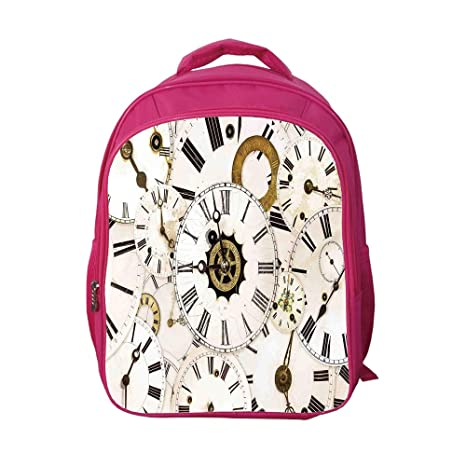 24a5b8bace8b iPrint School Bags Kid's Backpacks Custom,Antique,Collection of Vintage  Classic Clock Faces Aged