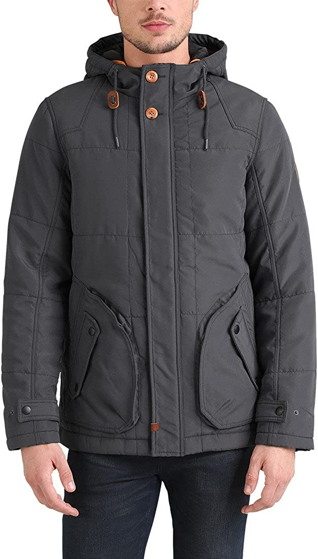 BLEND Polygon Men's Parka Outdoor Jacket Winter Coat With Hood Ebony Grey (75111)