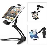 REDLEMON Soporte Metálico para Tablet de Brazo Flexible, con Base Adherible para Cocina, Pared o Escritorio. Compatible con iPad, Samsung, LG, Huawei, Asus, Lenovo, Google, Microsoft Surface y más. Negro