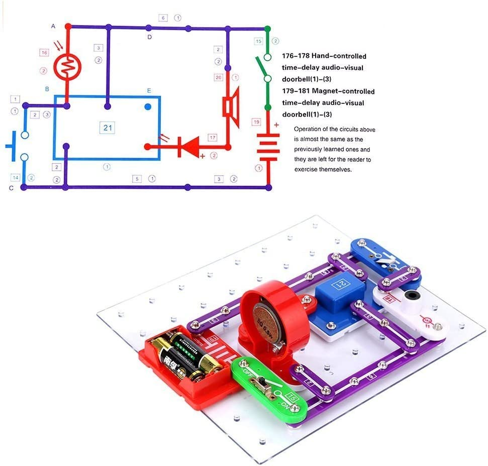 Circuits for Kids ELSKY 335 Electronics Discovery Kit, Circuits Experiments Kit, Smart Electronics Block Kit,Educational Science Kits Toy,Great DIY Building Blocks Electric Circuits Kits for Child: Toys & Games