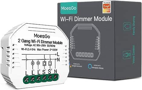 MoesGo Wifi 2 Gang Módulo oculto universal regulador de