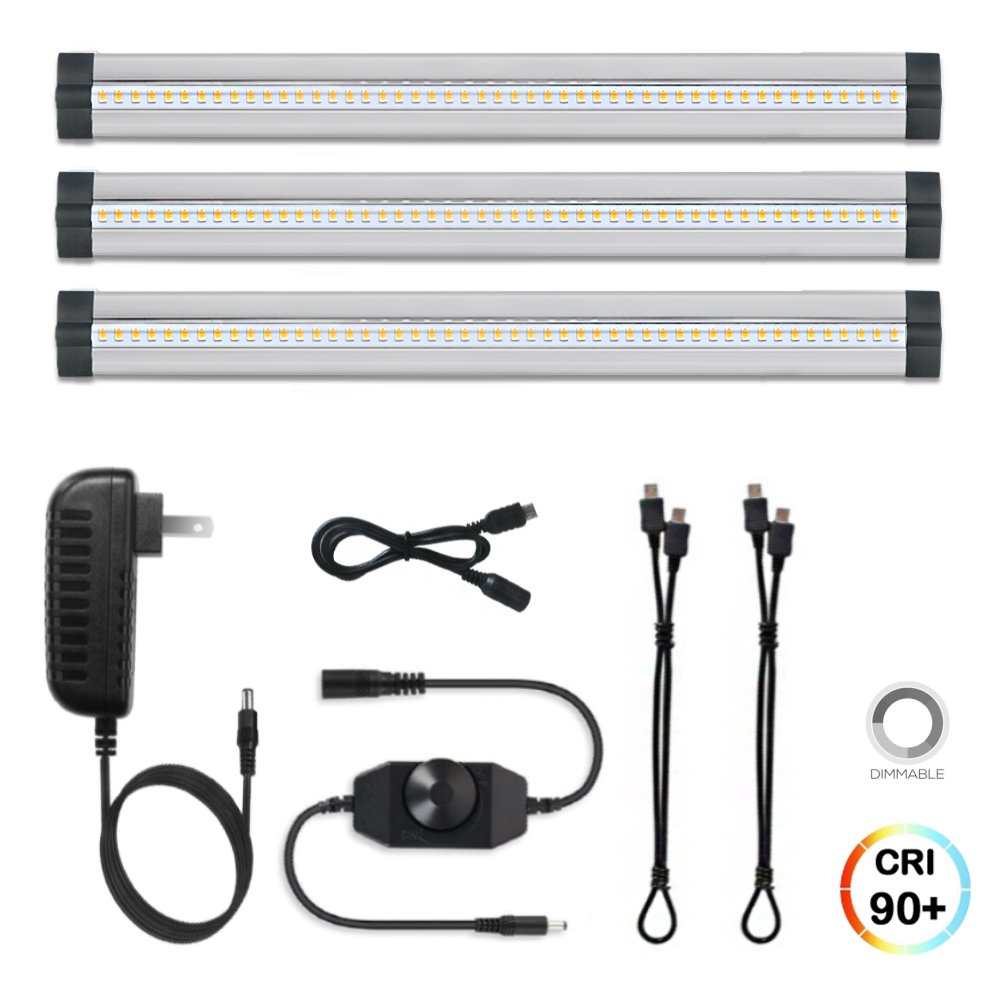 3 Pack LED Under Cabinet Lighting Dimmable Cool White, 15W 900LM CRI90, All Accessories Included