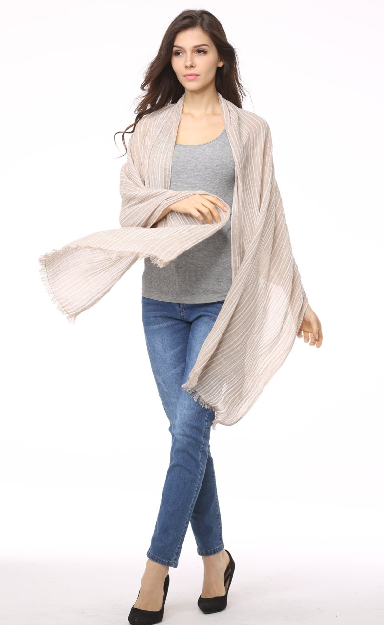 Cotton Scarf Shawl Wrap Soft Lightweight Scarves And Wraps For Men And Women. (Beige cream) by Jeelow (Image #3)