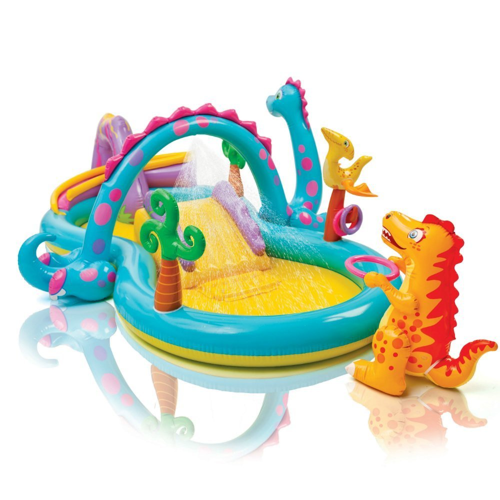 Kids Inflatable Pool. Small Kiddie Blow Up Above Ground Swimming Pool Is Great For Kids & Children To Have Outdoor Water Fun With Slide, Floats & Toys. This Dinoland Baby Swim Pool - Light & Portable. by Kids-Inflatable-Pool