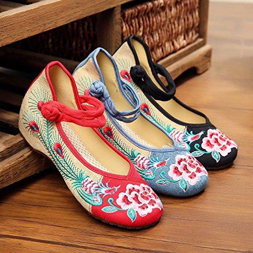 ZLL Pfingstrose Blume bestickte Schuhe, Leinen, Sehnensohle, ethnischer Stil, weibliche Schuhe, Mode, bequem , red , 39