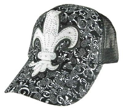 Paisley Rhinestone Fleur de Lis Baseball Cap