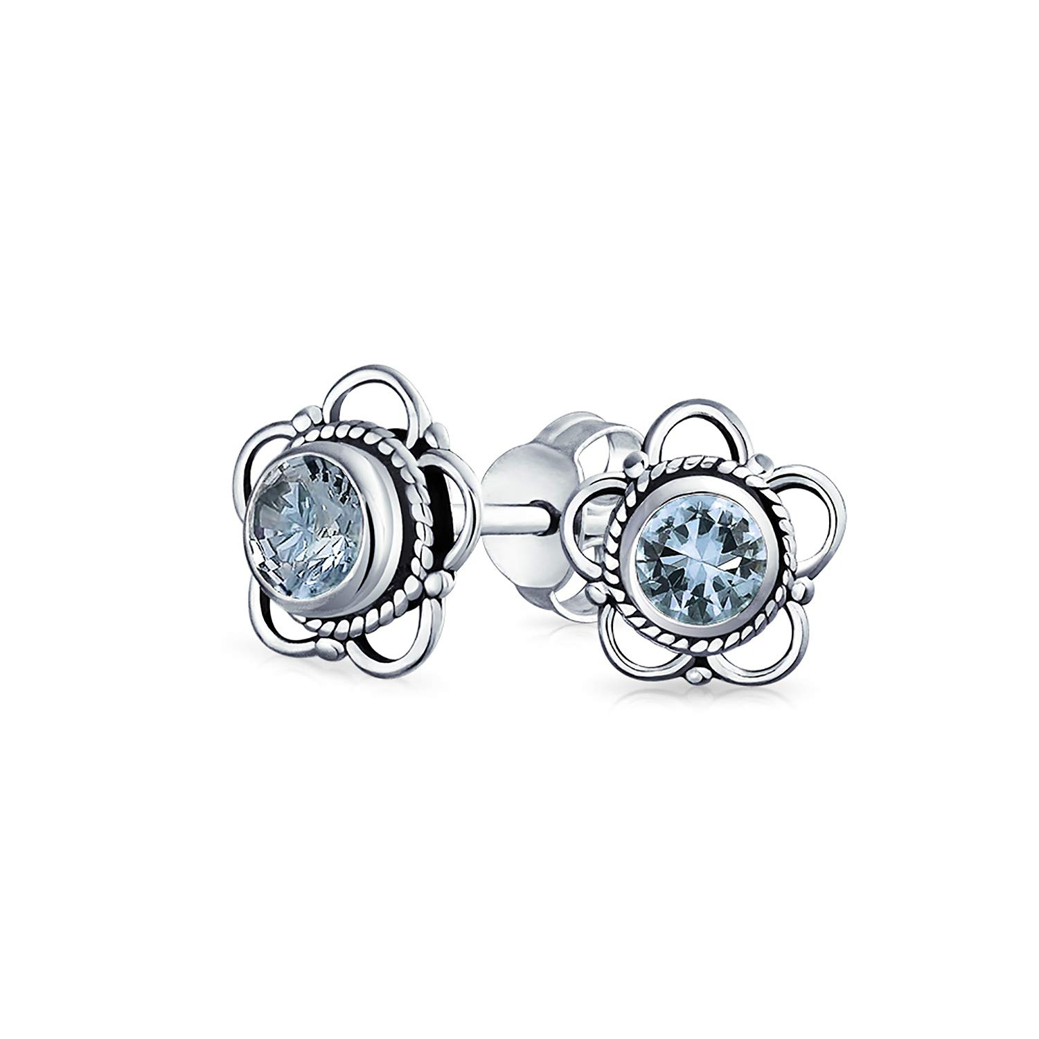 .6 CTW Flower Stud Filligree Earrings with Light Blue Topaz Gemstone 925 Silver Bling Jewelry N-PMR-521529BTR