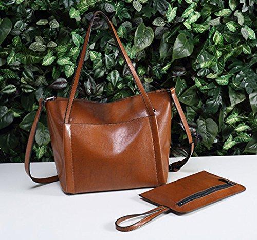Marrone Women's Top Shoulder Casual Handbags Bags Bags Vintage Bag Capacity Large Handle UGOOO set Fashion Ladies Bag Cross Body Brown Bag Rw0gdx