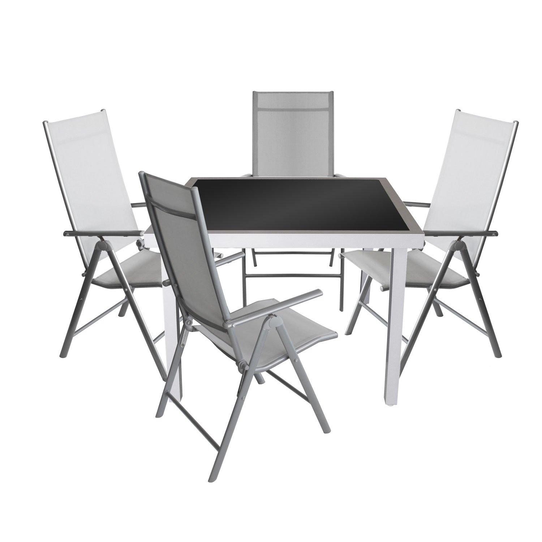 gartengarnitur aluminium glastisch 90x90cm alu hochlehner 7 positionen verstellbar klappbar. Black Bedroom Furniture Sets. Home Design Ideas