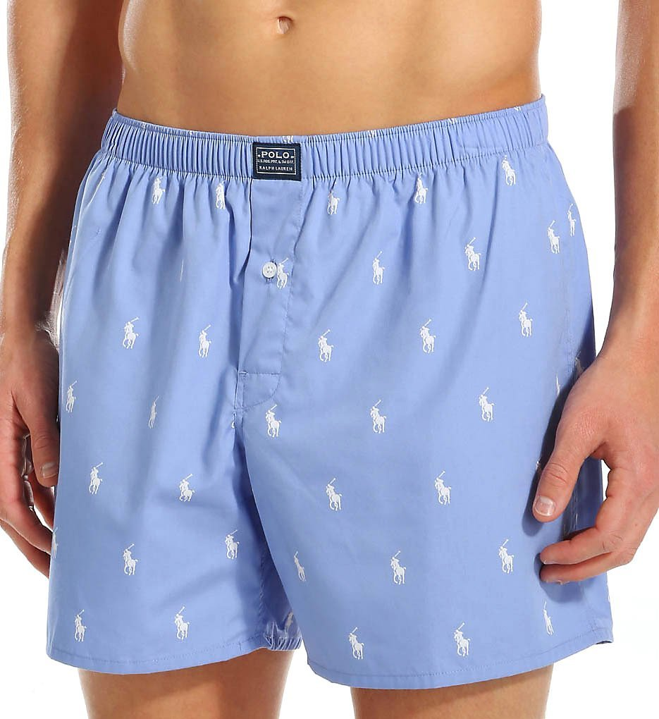 Polo Ralph Lauren Polo Player Woven Boxer, L, Bleach Blue