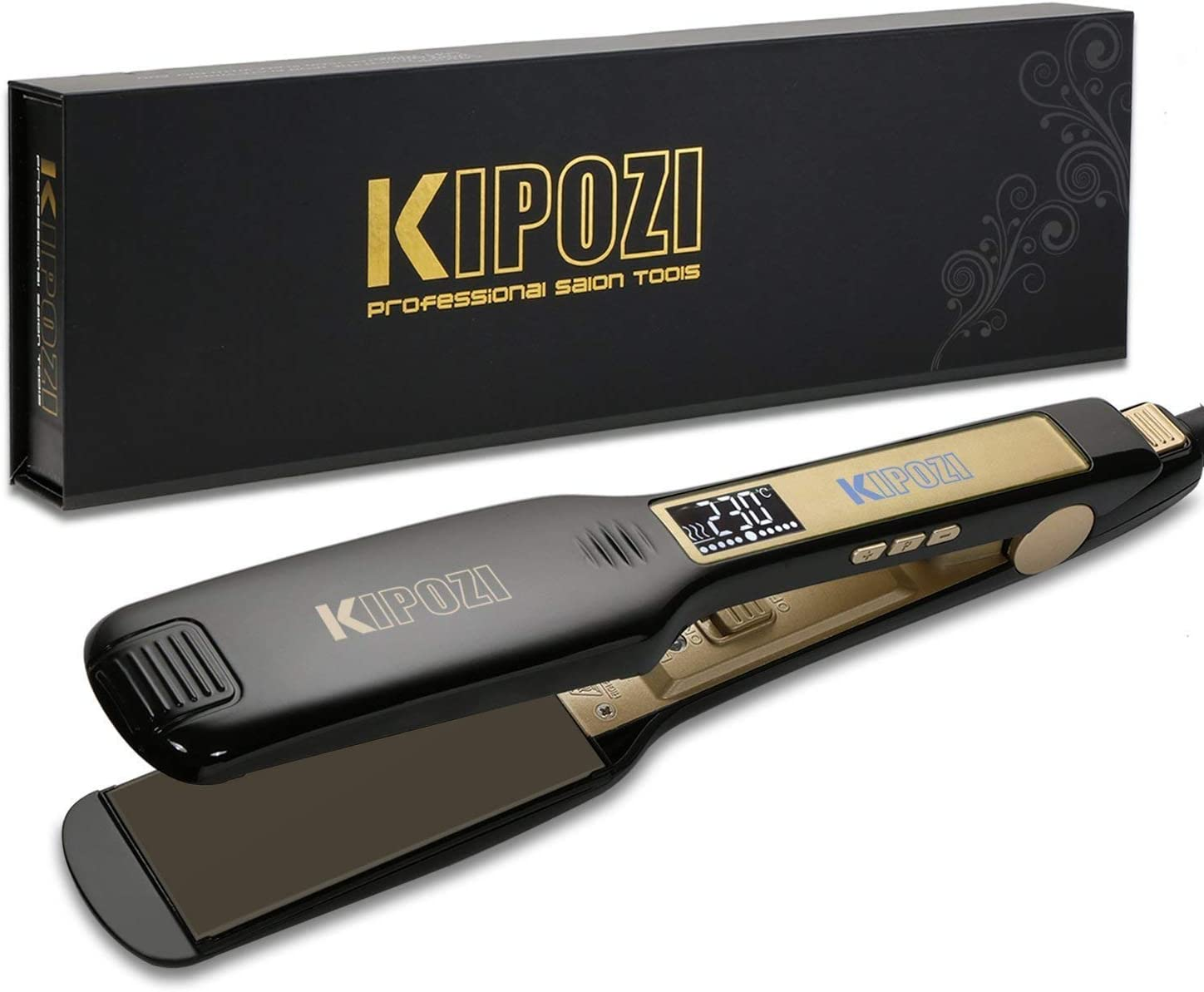 KIPOZI Professional Hair Straighteners for Women 1.75 Inch Wide Plates straighteners Flat Iron with Digital LCD Display for Salon Fast Hair Styler