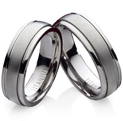 Neu 2 Titan Ringe 7mm Stein Eheringe Trauringe Partnerringe