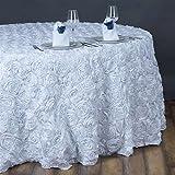 132 Inch Round Grandiose Rosette Tablecloth - White