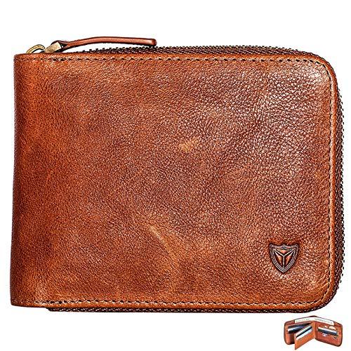 RFID Men's Leather Zipper wallet Zip Around Wallet Bifold Multi Card Holder Purse ()