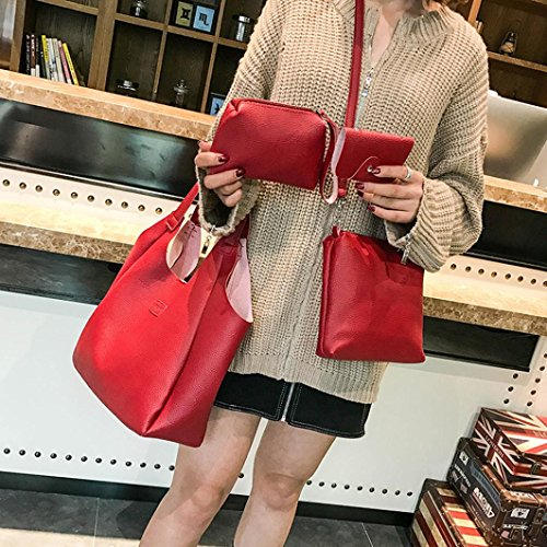 Toamen Shoulder Bag Style Handle Handbag Womens Tote red PU Purse 2 Leather Bags Top rZ4rwqT