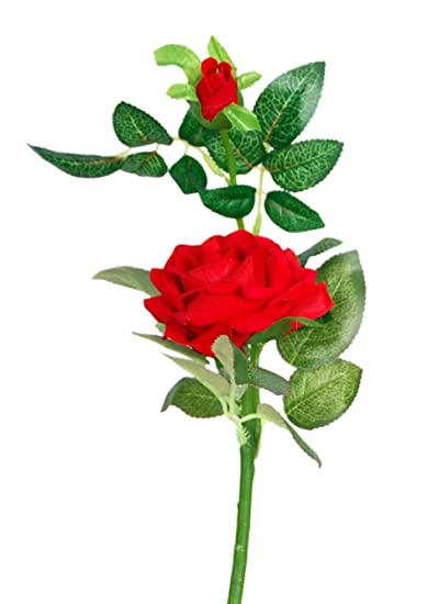 Loxiaa Red Rose Single Artificial Flower 25 Cm
